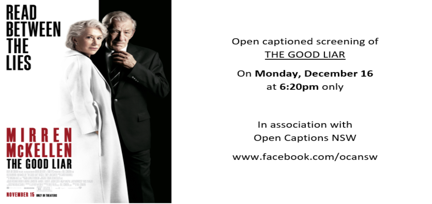 Open Captioned Screening on Monday 16th December